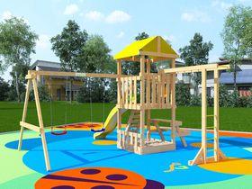 Детская деревянная площадка Крафтик со столиком и рукоходом в категории Детские площадки для дачи из дерева